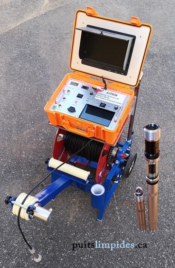 Nos inspections de puits artésien sont réalisés avec cet ensemble de caméra submersible de la compagnie Jtech permettant de descendre jusqu'à 400 pieds 122 mètres de profondeur. Une caméra de 38 mm de diamètre et une autre de 50 mm nous permettent de descendre aisément dans les puits de 150 mm de diamètre.